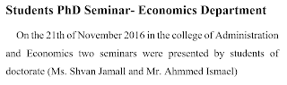 Students PhD Seminar- Economics Department